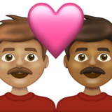 Couple with Heart: Man, Man, Medium Skin Tone, Medium-Dark Skin Tone on Emojipedia 13.1