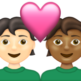 Couple with Heart: Person, Person, Light Skin Tone, Medium-Dark Skin Tone on Emojipedia 13.1