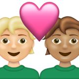 Couple with Heart: Person, Person, Medium-Light Skin Tone, Medium Skin Tone on Emojipedia 13.1