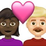 Couple with Heart: Woman, Man, Dark Skin Tone, Medium-Light Skin Tone on Emojipedia 13.1
