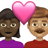 Couple with Heart: Woman, Man, Dark Skin Tone, Medium Skin Tone on Emojipedia 13.1