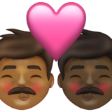 Kiss: Man, Man, Medium-Dark Skin Tone, Dark Skin Tone on Emojipedia 13.1