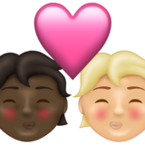 Kiss: Person, Person, Dark Skin Tone, Medium-Light Skin Tone on Emojipedia 13.1