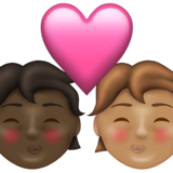 Kiss: Person, Person, Dark Skin Tone, Medium Skin Tone on Emojipedia 13.1