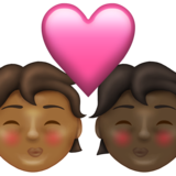 Kiss: Person, Person, Medium-Dark Skin Tone, Dark Skin Tone on Emojipedia 13.1