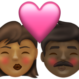 Kiss: Woman, Man, Medium-Dark Skin Tone, Dark Skin Tone on Emojipedia 13.1