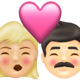 Kiss: Woman, Man, Medium-Light Skin Tone, Light Skin Tone on Emojipedia 13.1