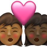 Kiss: Woman, Woman, Medium-Dark Skin Tone, Dark Skin Tone on Emojipedia 13.1