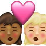 Kiss: Woman, Woman, Medium-Dark Skin Tone, Medium-Light Skin Tone on Emojipedia 13.1