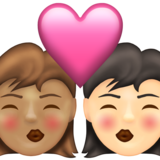 Kiss: Woman, Woman, Medium Skin Tone, Light Skin Tone on Emojipedia 13.1