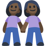 Women Holding Hands: Dark Skin Tone on Facebook 2.1