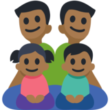 Family - Man: Medium-Dark Skin Tone, Man: Medium-Dark Skin Tone, Girl: Medium-Dark Skin Tone, Boy: Medium-Dark Skin Tone on Facebook 2.2