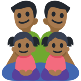 Family - Man: Medium-Dark Skin Tone, Man: Medium-Dark Skin Tone, Girl: Medium-Dark Skin Tone, Girl: Medium-Dark Skin Tone on Facebook 2.2