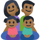 Family - Man: Medium-Dark Skin Tone, Woman: Medium-Dark Skin Tone, Girl: Medium-Dark Skin Tone, Boy: Medium-Dark Skin Tone on Facebook 2.2