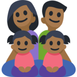 Family - Man: Medium-Dark Skin Tone, Woman: Medium-Dark Skin Tone, Girl: Medium-Dark Skin Tone, Girl: Medium-Dark Skin Tone on Facebook 2.2