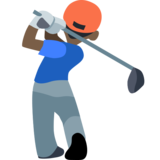 Person Golfing: Dark Skin Tone on Facebook 2.2