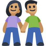 Woman and Man Holding Hands: Medium Skin Tone on Facebook 2.2