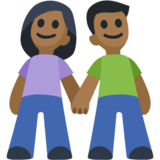 Woman and Man Holding Hands: Medium-Dark Skin Tone on Facebook 2.2