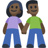 Woman and Man Holding Hands: Dark Skin Tone on Facebook 2.2