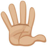 Hand With Fingers Splayed: Medium-Light Skin Tone on Facebook 2.2