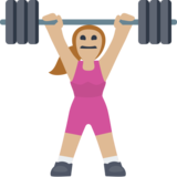 Woman Lifting Weights: Medium-Light Skin Tone on Facebook 2.2