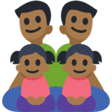Family - Man: Medium-Dark Skin Tone, Man: Medium-Dark Skin Tone, Girl: Medium-Dark Skin Tone, Girl: Medium-Dark Skin Tone on Facebook 3.0