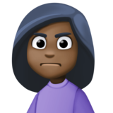 Person Frowning: Dark Skin Tone on Facebook 3.0