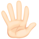 Hand with Fingers Splayed: Light Skin Tone on Facebook 3.0