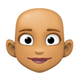 Woman: Medium Skin Tone, Bald on Facebook 3.0