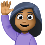 Woman Raising Hand: Medium-Dark Skin Tone on Facebook 3.0