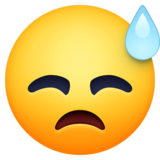 Downcast Face with Sweat on Facebook 3.1