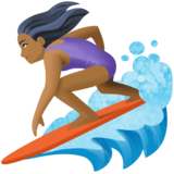 Woman Surfing: Medium-Dark Skin Tone on Facebook 3.1