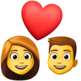 Couple with Heart: Woman, Man on Facebook 4.0