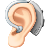 Ear with Hearing Aid: Light Skin Tone on Facebook 4.0