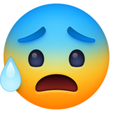 Anxious Face with Sweat on Facebook 4.0