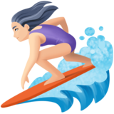 Woman Surfing: Light Skin Tone on Facebook 4.0