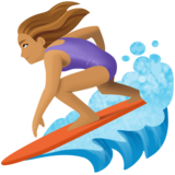 Woman Surfing: Medium Skin Tone on Facebook 4.0
