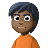 Person Frowning: Dark Skin Tone on Facebook 13.1