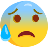 Anxious Face With Sweat on Messenger 1.0