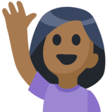 Woman Raising Hand: Medium-Dark Skin Tone on Facebook 2.0