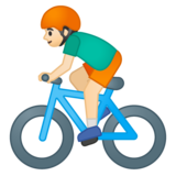 Person Biking: Light Skin Tone on Google Android 8.0