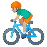 Person Biking: Medium-Light Skin Tone on Google Android 8.0