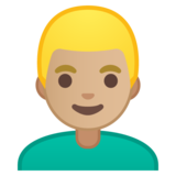 Man: Medium-Light Skin Tone, Blond Hair on Google Android 8.0