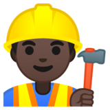 Construction Worker: Dark Skin Tone on Google Android 8.0
