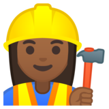 Woman Construction Worker: Medium-Dark Skin Tone on Google Android 8.0