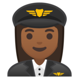Woman Pilot: Medium-Dark Skin Tone on Google Android 8.0