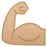 Flexed Biceps: Medium-Light Skin Tone on Google Android 8.0