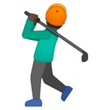 Person Golfing: Dark Skin Tone on Google Android 8.0