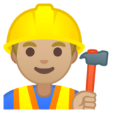 Man Construction Worker: Medium-Light Skin Tone on Google Android 8.0