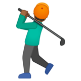 Man Golfing: Medium-Dark Skin Tone on Google Android 8.0